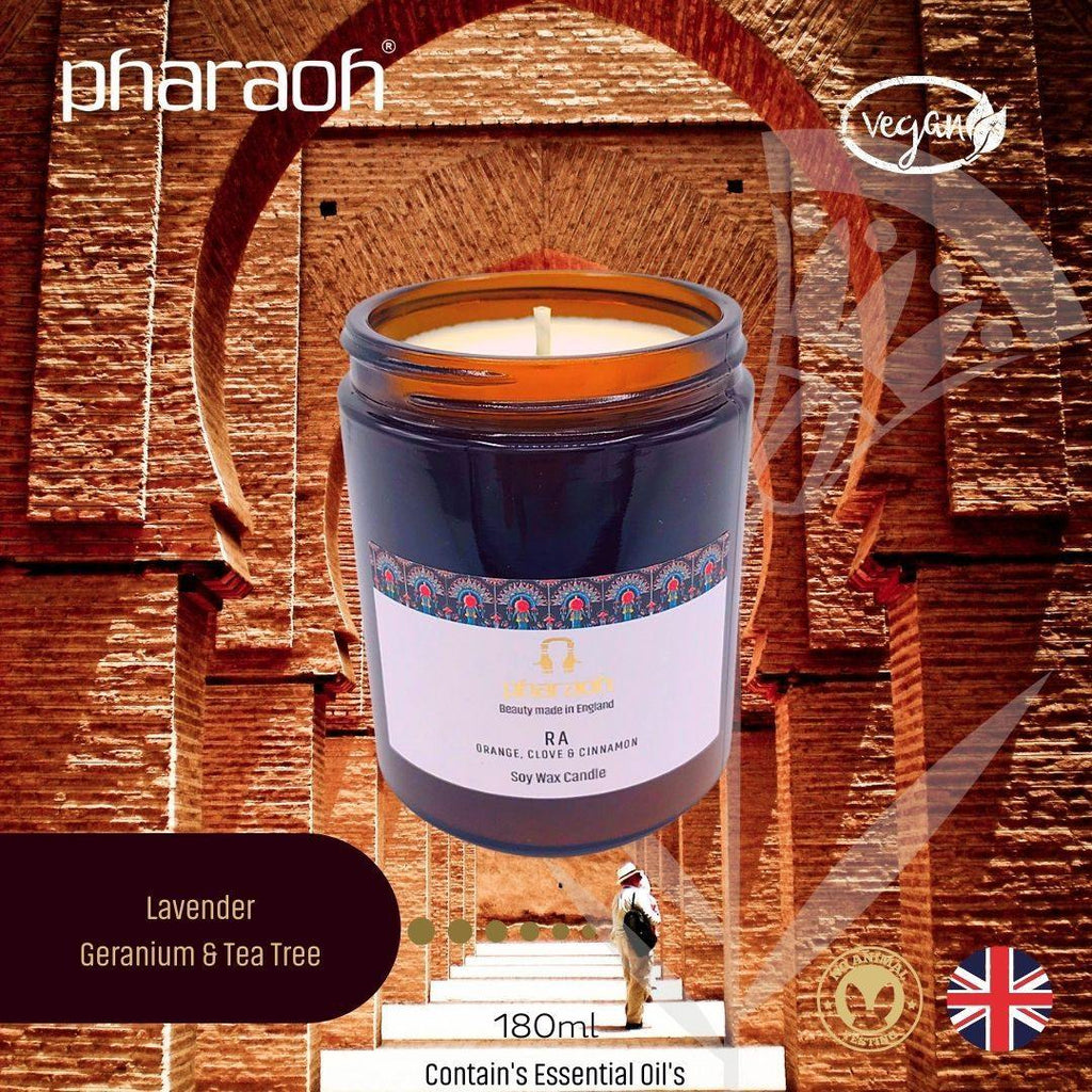 Organic SPA Essentials Soy Wax Candle RA 180ml (Orange Clove) | Pharaoh London Cosmetics - discover beauty made in England
