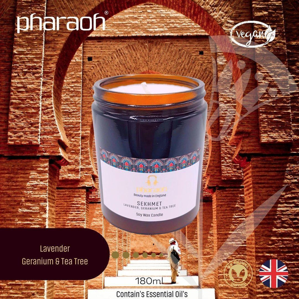 Organic SPA Essentials Soy Wax Candle Sekhmet 180ml (Lavender Geranium Tea Tree) | Pharaoh London Cosmetics UK | discover beauty made in England