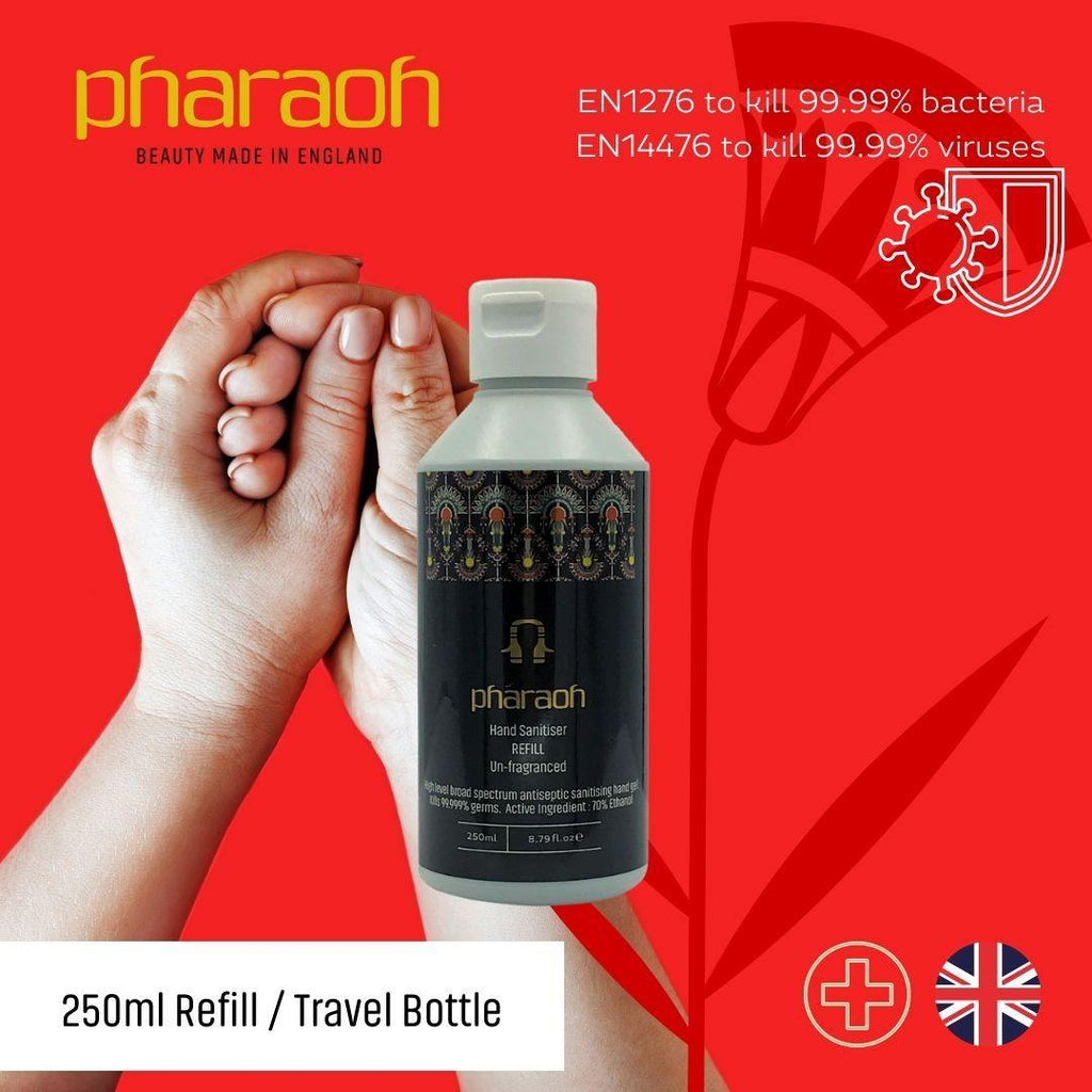 Hand Sanitiser 70% Alcohol Rub Refill Fragrance Free Approved for BS ES 1276 & BS EN 1500 | Pharaoh London Cosmetics UK - discover beauty made in England