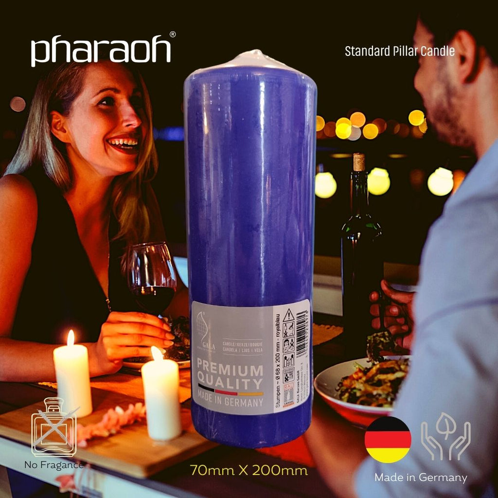 Blue Pillar Occasional Candle 70mm X 200mm | Pharaoh London UK
