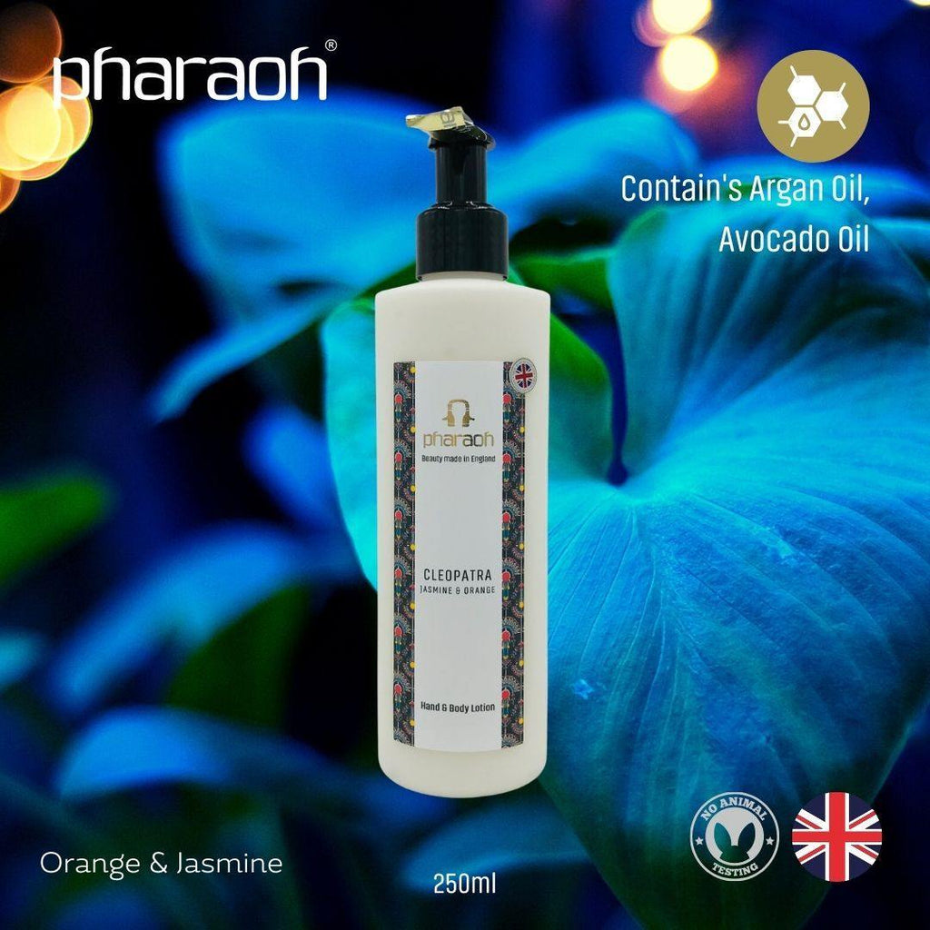 CLEOPATRA (Jasmine & Orange) Luxury Hand & Body Lotion 250ml - Pharaoh London Cosmetics UK Ltd | discover beauty made in England