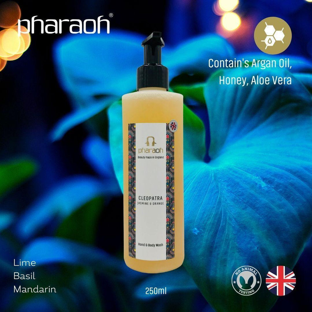 CLEOPATRA (Jasmine & Orange) Luxury Hand & Body Wash 250ml - Pharaoh London Cosmetics UK Ltd | discover beauty made in England