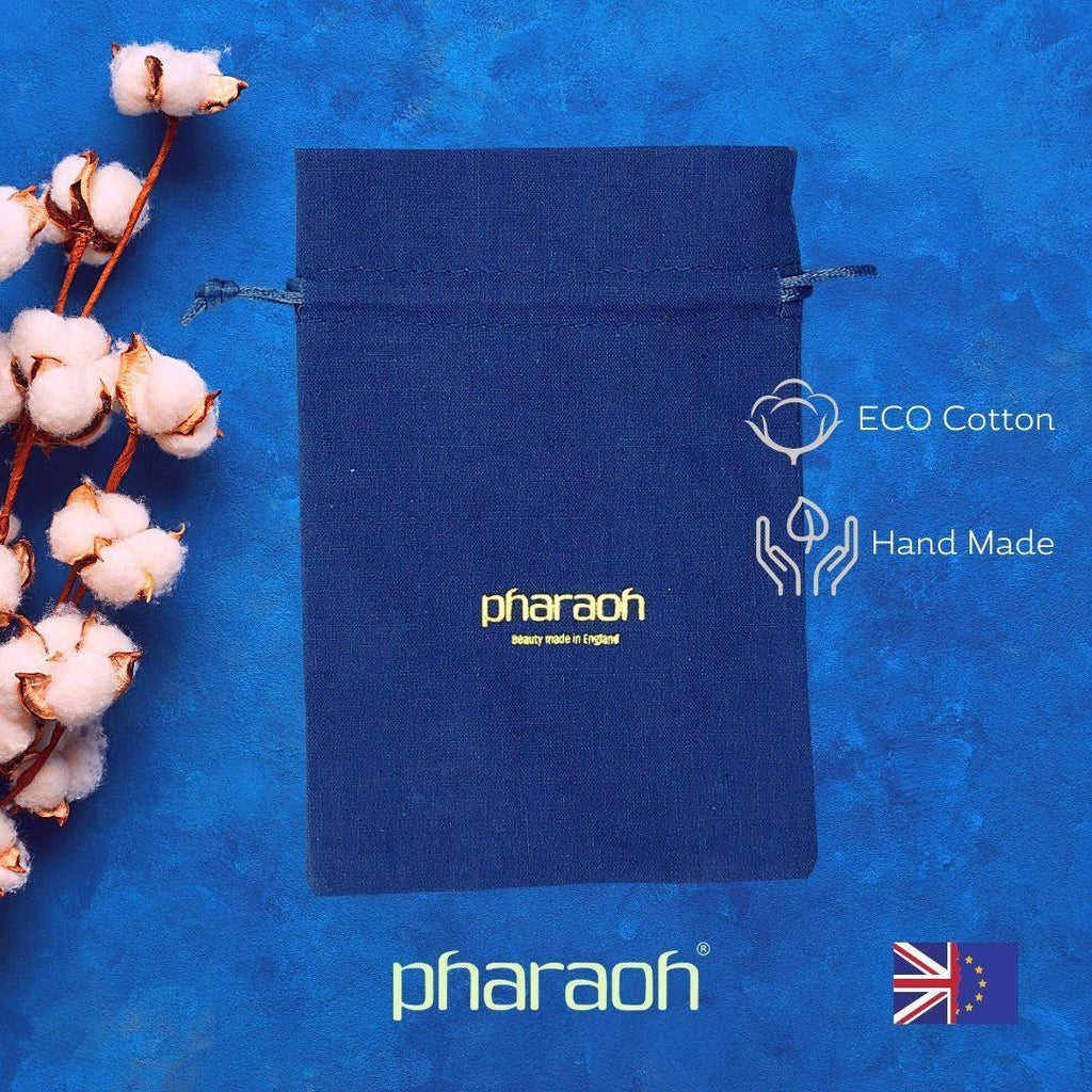Our handy pouch is made of cotton jute including a cotton string which can be pulled at the side to close the pouch | Pharaoh London Cosmetics UK - discover beauty made in England