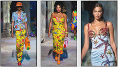 Models wearing Spring 2021 bright coloured clothes