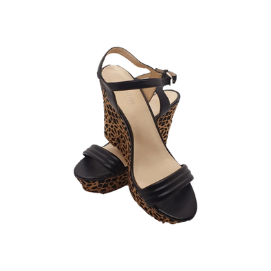 Wedges with black heel and cork geometric detailing from Nine West