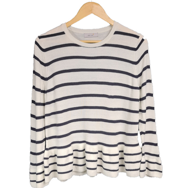 Navy & white striped jumper with flared bottom hem from Per Una