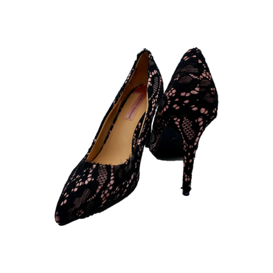 Pink with black lace detailing heels from Dorthy Perkins