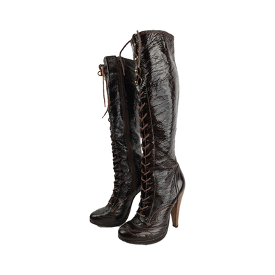 Knee high boots with side zip fastening and laced front detailing from French Connection