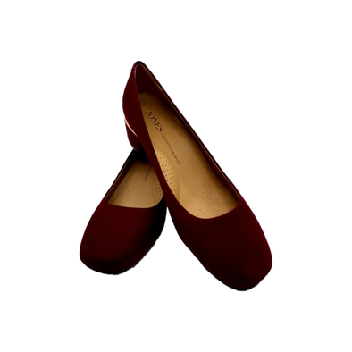 Burgundy low platform heel with gold banding detailing on heel from Jones Bootmaker