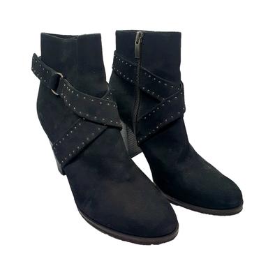 Black ankle boots with studded strap detailing from Mint Velvet