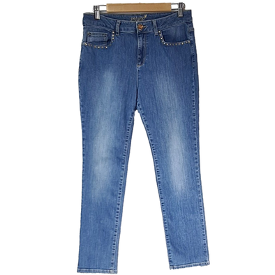 mid blue denim jeans with stud detailing around front pockets from Per Una