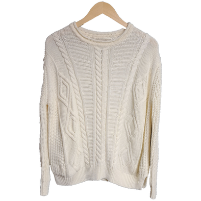Cream knitted women's jumper from Pull & Bear