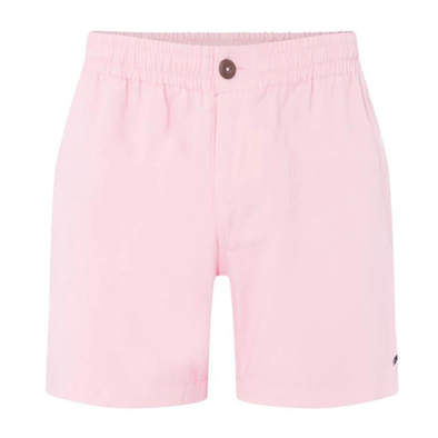 A pair of pink shorts with blue logo from Raging Bull. A pair of smart casual shorts for your collection.