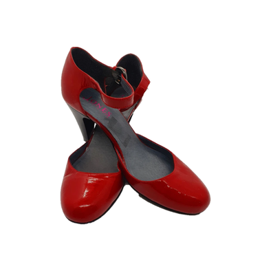 Red patent heels with ankle strap from Jones Bootmaker
