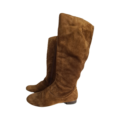 Knee high tan suede boots with side zip from Nine West