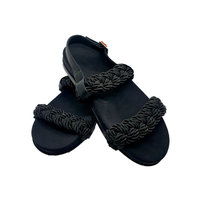 Black sandals with rope design and heel strap from Topshop