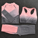 3Pc Set, Seamless Leggings, Long Sleeve Crop Top and Sports Bra