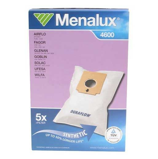 Menalux Duraflow 4600 Synthetic Dust Bags 5 Pack & Filter