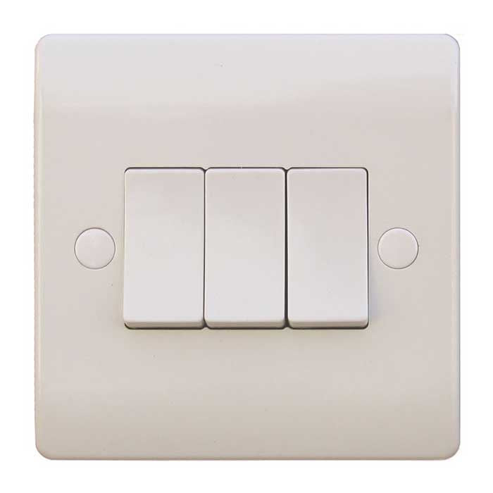3 Gang 2 Way 10A White Wall Switch