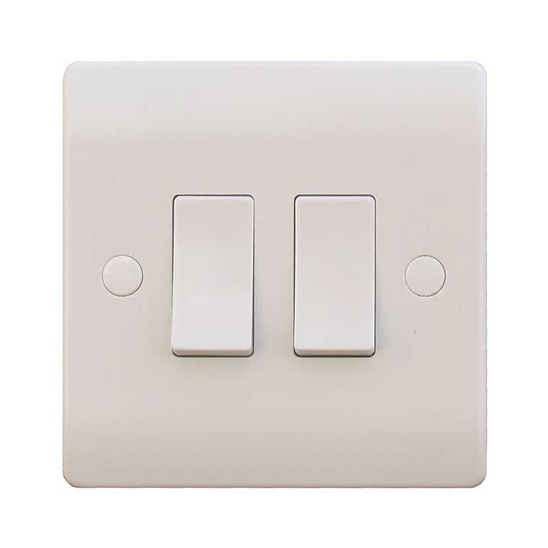 2 Gang 2 Way 10A White Wall Switch
