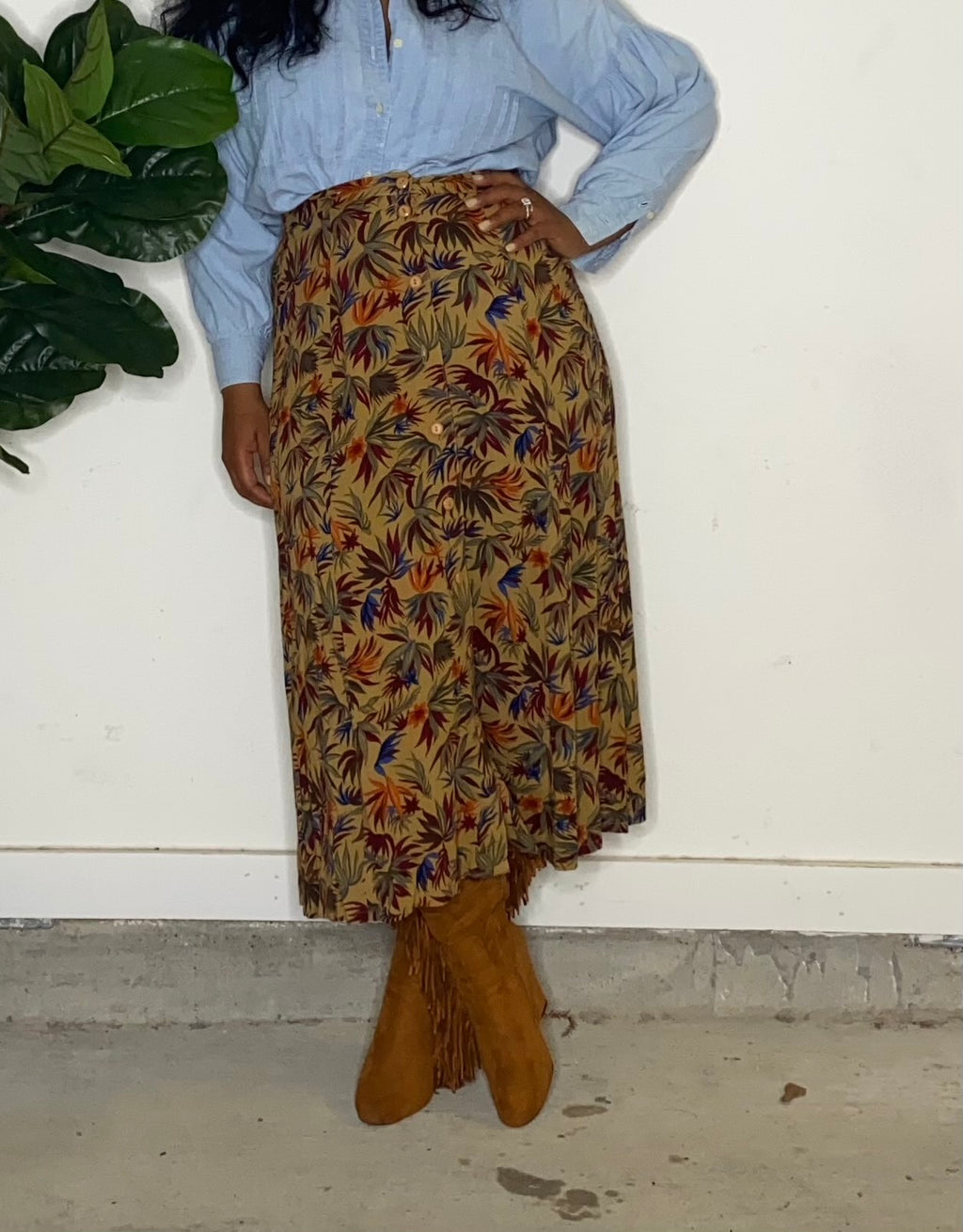 Front Button Down Floral Skirt