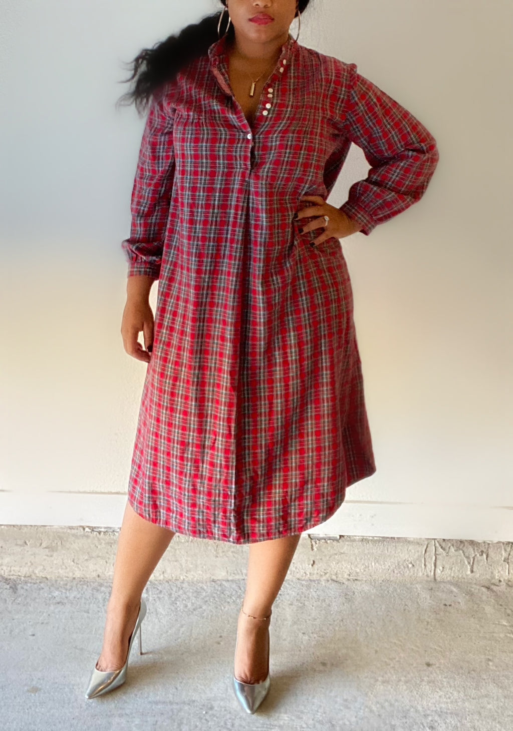 Plaid Oversize Women Dress