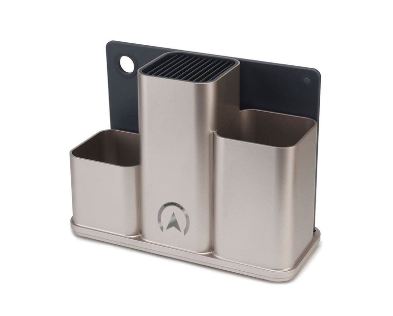 Transmartgate Counterstore Utensil Pot & Chopping Board Set- Silver - Transmartgate - Amazing marketplace for Boutique Items.
