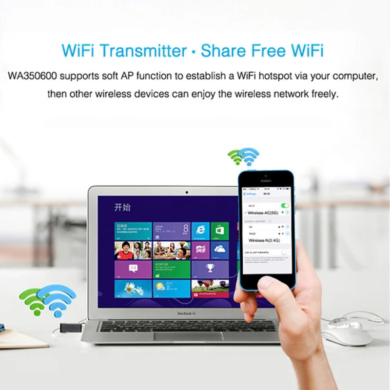 USB Wifi Adapter 600MBPS WiFi 5G Adapte Antenna Dongle AC Wifi Receiver - Transmartgate - Amazing marketplace for Boutique Items.