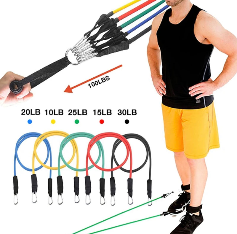 KYLINSPORT Resistance Band Set 12 pcs 5 Stackable Exercise Bands Door Anchor Legs Ankle Straps Sports Latex Home Workout Pilates Fitness Strength Training Muscular Bodyweight Training Muscle Building - Transmartgate - Amazing marketplace for Boutique Items.