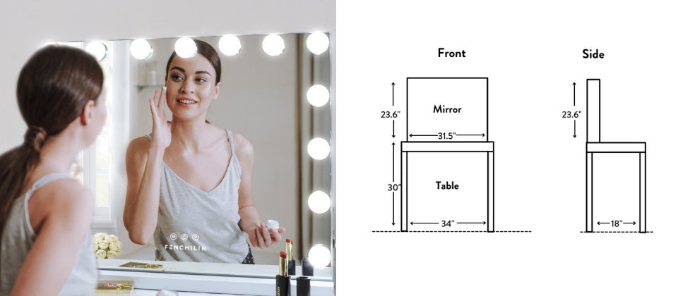 The mirror is one-third of the overall width of the table.