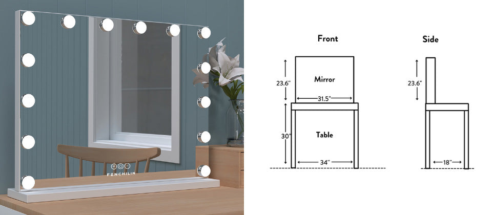 the mirror is at least an inch lesser than your makeup desk width