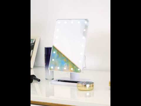 Load and play video in Gallery viewer, Desktop Bluetooth Makeup Vanity Mirror with Lights (White) | FENCHILIN