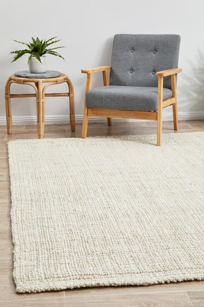 Atrium Barker Natural Jute Hand Loomed  Bleach Rug