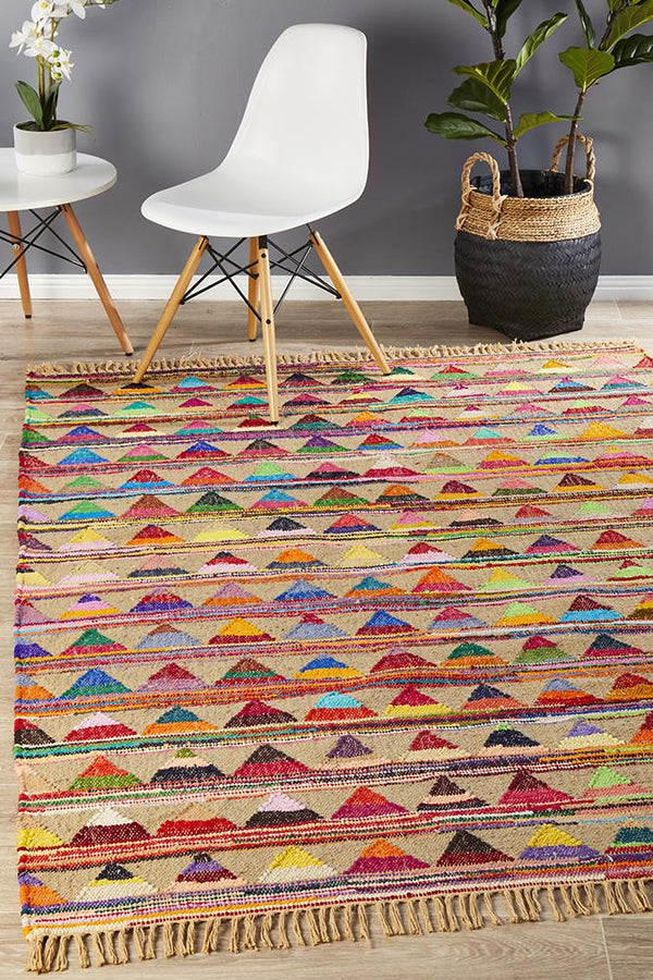 Atrium Jute Cotton Tribal Flat-Weave  Multi Rug