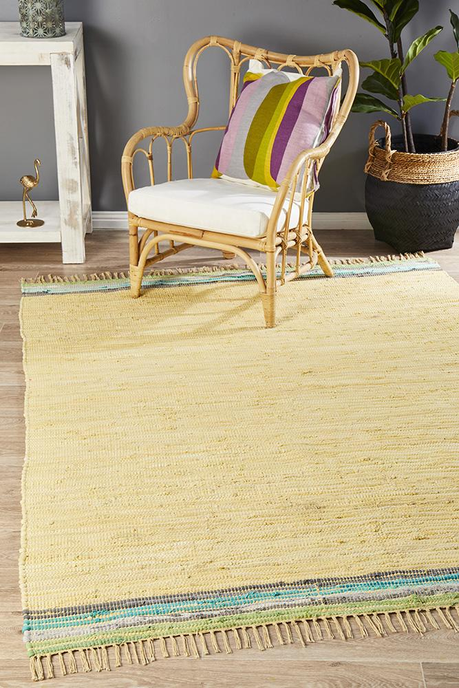 Atrium Boho Whimsical Country Tassels Rug yellow