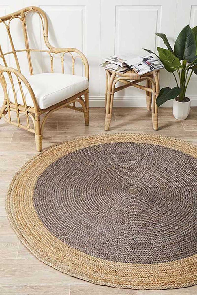 Round Jute Braided Atrium Polo Charcoal Rug