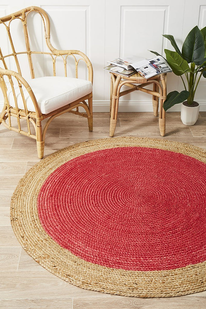 Reversible Jute Braided Atrium Polo Round Cherry Rug