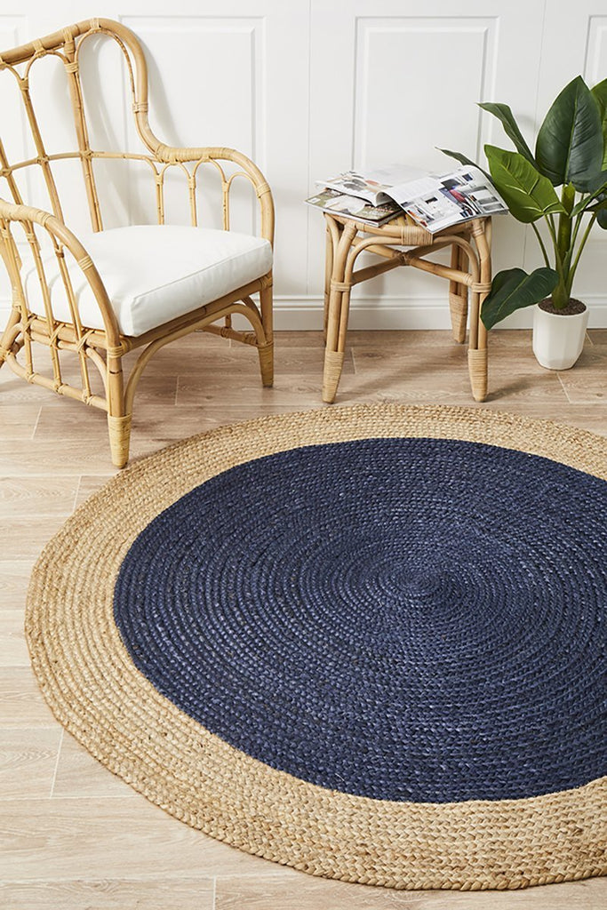 Jute Braided Atrium Polo Navy Round  Rug