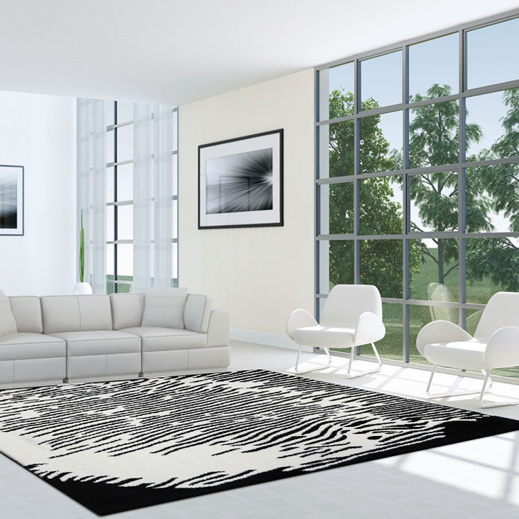 Adorable 1006 Black white  Zebra Stripe Modern Rug By Iconic Rugs Australia