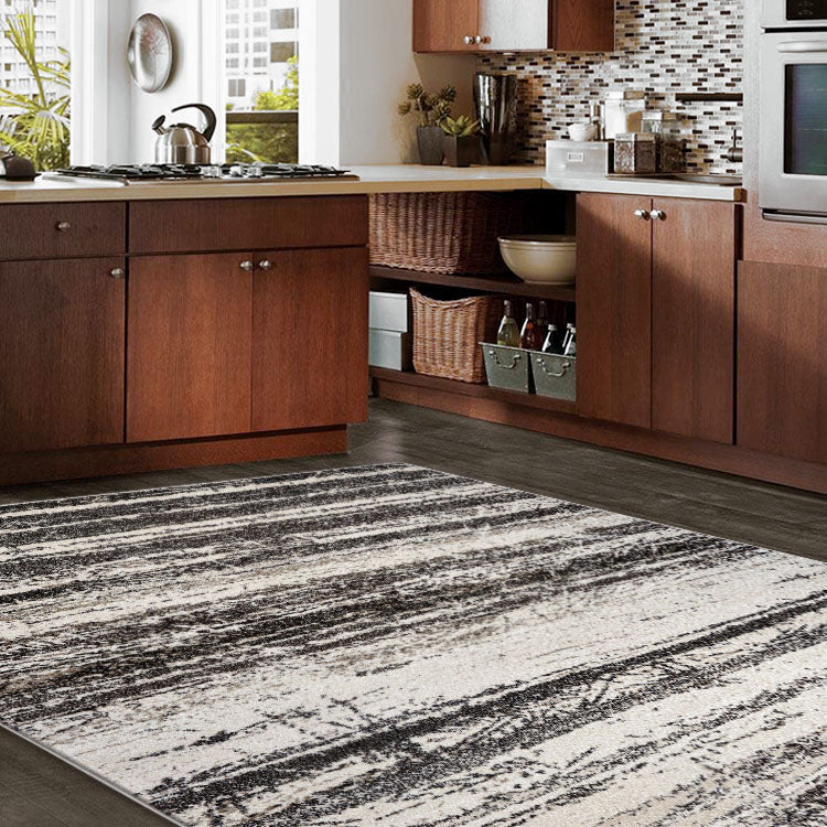 Adorable 1093 Faded Lines Beige  Modern Rug By Iconic Rugs Australia