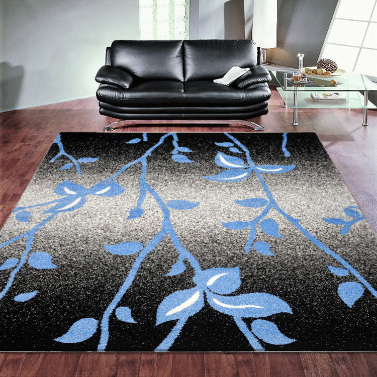 Adorable 1589 Black Blue flowers   Modern Rug By Iconic Rugs Australia