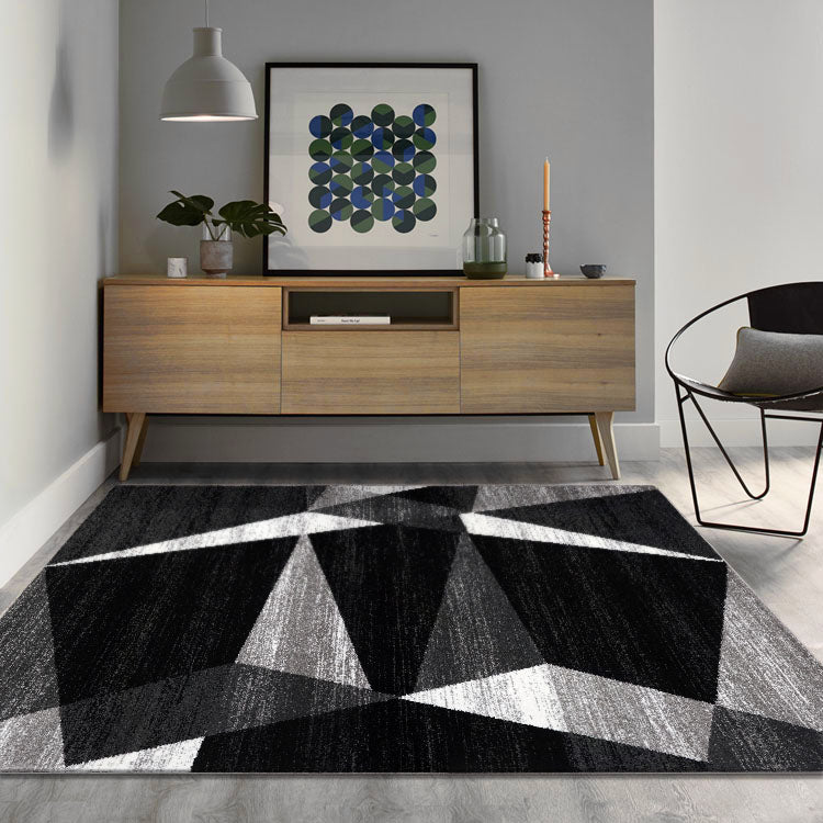 Adorable 2301 Grey  Triangles   Rug By Iconic Rugs Australia
