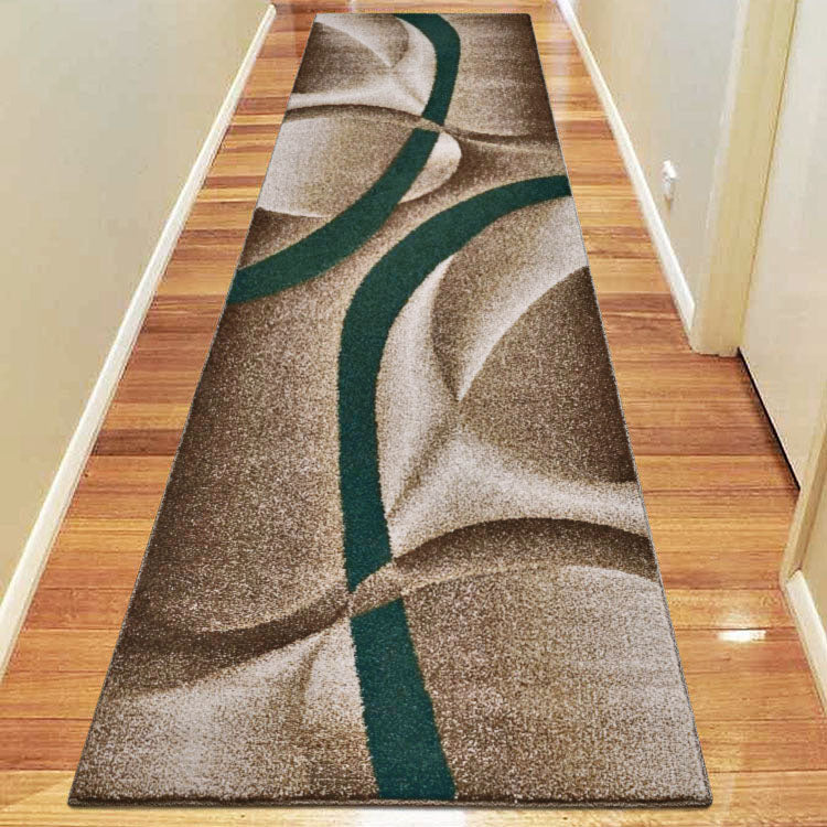 Atlantic  387 Beige Teal Curvy Hallway Runner