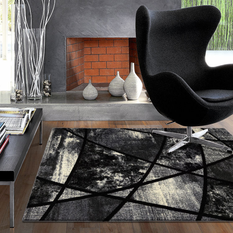 Atlantic 535 Granite  Curve and square  Modern Rug From $115