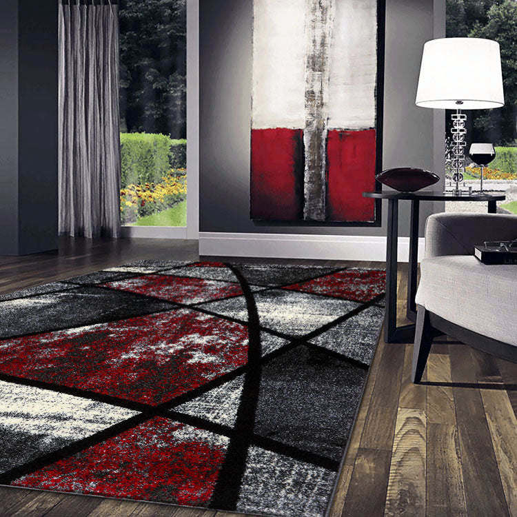 Atlantic 535 Graphite Red   Curve and square  Modern Rug From $115