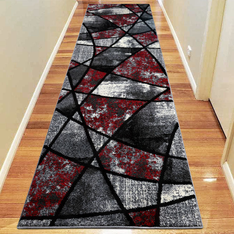 Atlantic 535 Graphite Red   Curve and square Hallway Runner