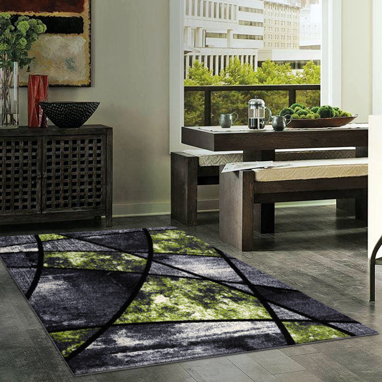 Atlantic 535 Grey Green    Curve and square  Modern Rug From $115