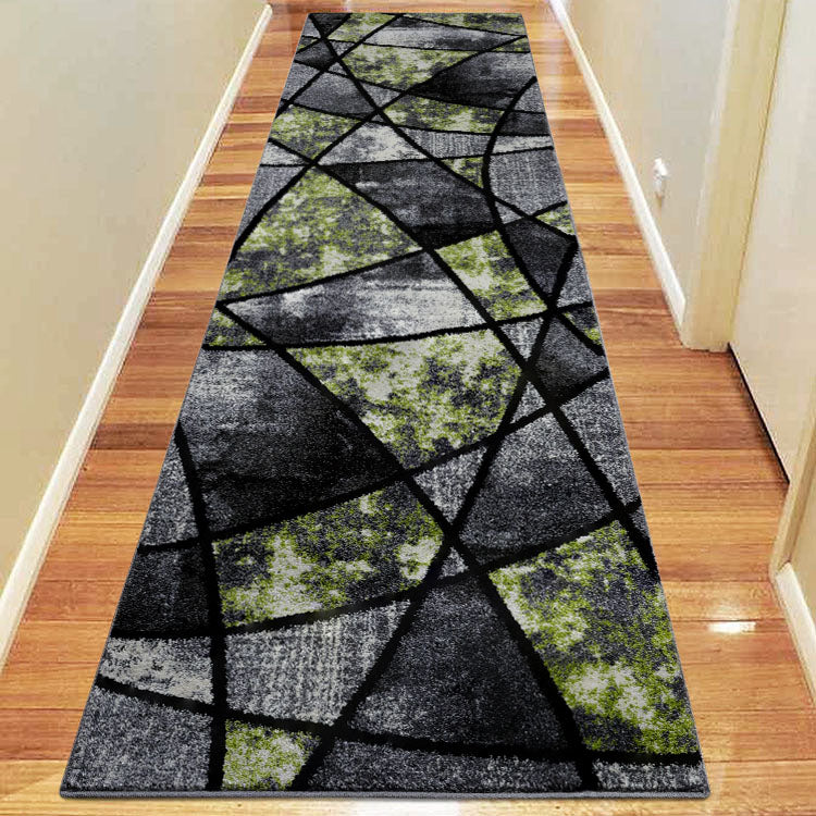 Atlantic 535 Grey Green    Curve and square  Hallway Runner