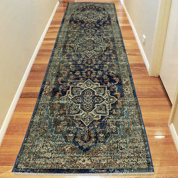 Persian Design Hallway Runner Dusk 3089 Navy Green with medallion