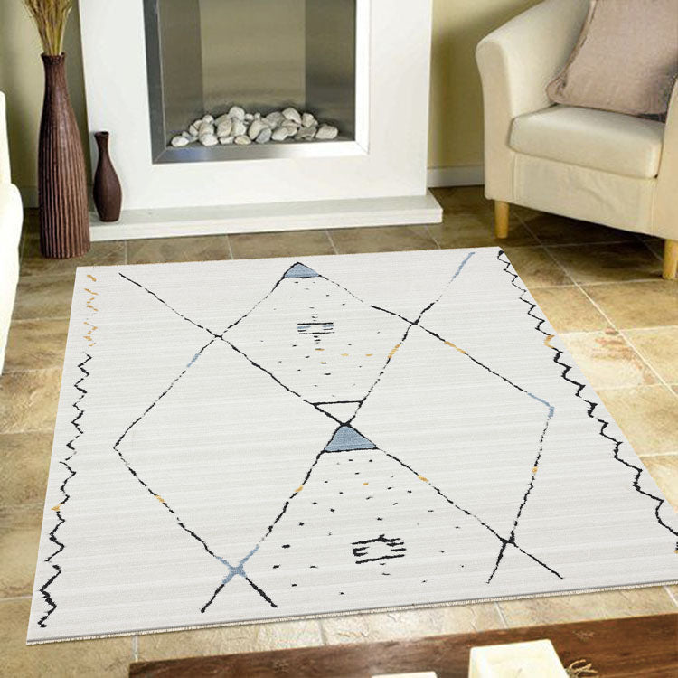 Moroccan lattice Design Rug Dusk 3271 Grey Cream With  Tassels from $99